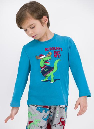 Roly Poly Rolypoly Super Dino Dayoff Açık Petrol Erkek Çocuk Pijama Takımı Petrol